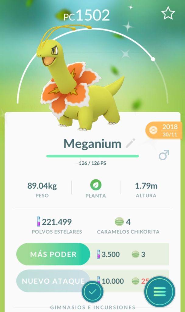 A shiny Meganium in Pokémon Go
